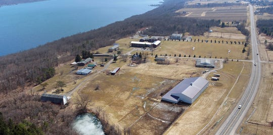 Freedom Village along the west shore of Seneca Lake in Yates County, NY is for sale after a bankruptcy request from Pastor Fletcher Brothers was denied by the court. This iPhoto by made by a drone is looking south along NY-14.