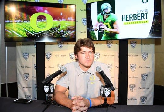 Jul 24, 2019; Los Angeles, CA, USA; Oregon Ducks quarterback  Justin Herbert during Pac-12 football media day at Hollywood & Highland. Mandatory Credit: Kirby Lee-USA TODAY Sports