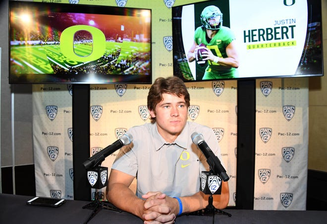 Jul 24, 2019; Los Angeles, CA, USA; Oregon Ducks quarterback  Justin Herbert during Pac-12 football media day at Hollywood & Highland. Mandatory Credit: Kirby Lee-USA TODAY Sports