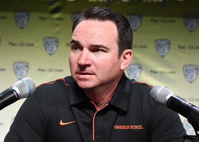 Jul 24, 2019; Los Angeles, CA, USA; Oregon State Beavers coach Jonathan Smith during Pac-12 football media day at Hollywood & Highland. Mandatory Credit: Kirby Lee-USA TODAY Sports
