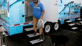 Ray Boyd was one of the first people to use a new mobile bathrooms trailer with three private showers that will soon be available for people experiencing homelessness.