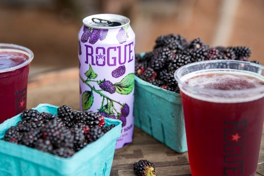 Rogue Ales Marionberry Sour is pictured at Rogue Farms in Independence on July 23, 2019.
