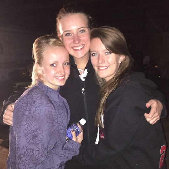 Brooke Thompson, left; Brooke Nattress, center; and Lexie Severtson, right, pose for a photo together. Thompson died in a car crash on Interstate 90 near the Brandon exit on Tuesday morning.
