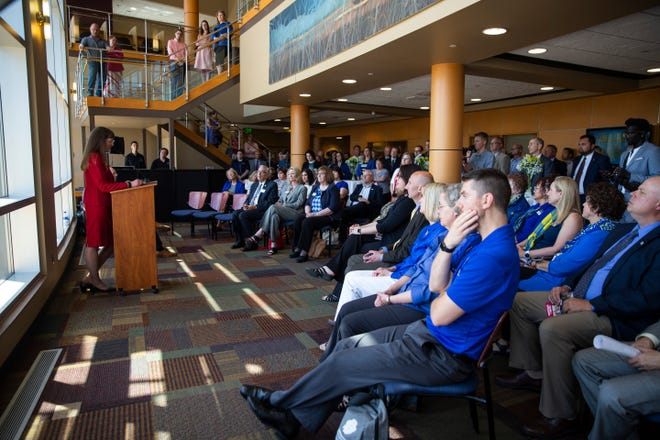 Vice President and Dean of USD Community College for Sioux Falls Carmen Simone speaks about goals for the upcoming school year, Wednesday, July 24.