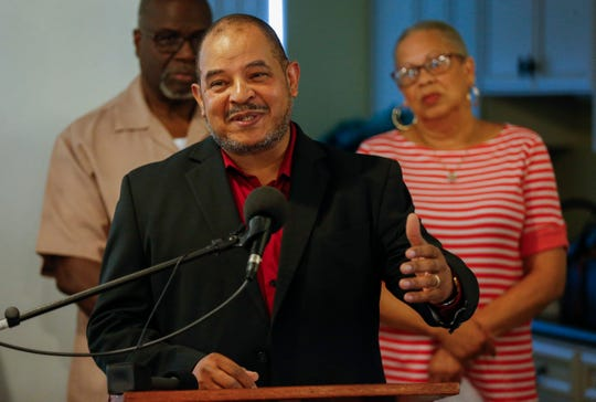 Mark Dixon, executive director of the Bartley-Decatur Neighborhood Center, speaks during the Community Education Coalition for Springfield Public Schools Equity's news conference on Wednesday, July 24, 2019, in Springfield, Mo.