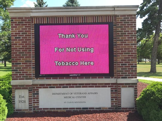 Entering the St. Cloud VA Health Care System, a large LED sign reminds visitors and patients of the new no-smoking policy put in place Monday, July 15, 2019.