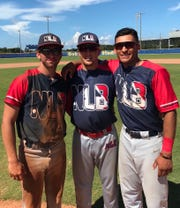 Next Level Baseball 18U players Tyler Borges, Dawson Fietsam and Victor Castillo celebrate after a game.