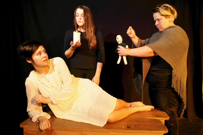 """Alex Bass, Brianna Beach, Carol Kelly as  teens conspiring to deceive in Phoenix Theatre's production of Arthur Miller's 'The Crucible."""""""