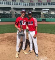 Dilan Lawson and True Fontenot celebrate after the 2019 Perfect Game 18U World Series. Lawson, a Madison County grad, was named MVP.
