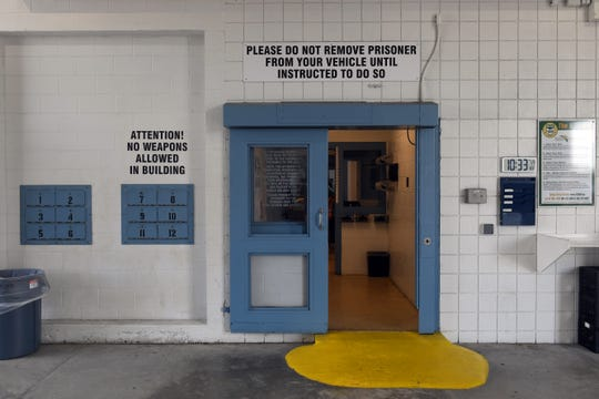 This is the first door someone being brought to the St. Lucie County Jail will enter. As of July 24, 1,362 inmates were being housed at the St. Lucie County Jail. The average daily population fell between 2008 and 2011 but since then has been slowly increasing. So far this year there's been an average of 1,302 inmates daily.