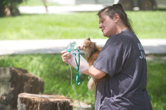 "Indian River County Fire Rescue and the Vero Beach Police Department helped rescue Nikki Alascil's Pomerarian Mary from a house fire on the 1400 block of 15th Avenue on Friday, June 23, 2017, in Vero Beach. Another dog, Flipper, was later discovered in the neighborhood. Alascil wasn't home when the electrical fire started, but neighbors Darian Crowe and Cannon Screus responded to the fire by throwing water at it. ""That probably saved Mary's life,"" Alascil said."