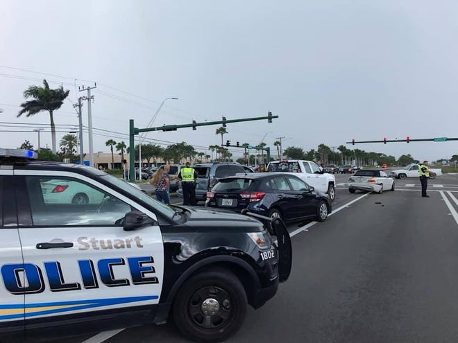 Parts of U.S. 1 and Southeast Market Place in Stuart closed after multiple vehicle crash.