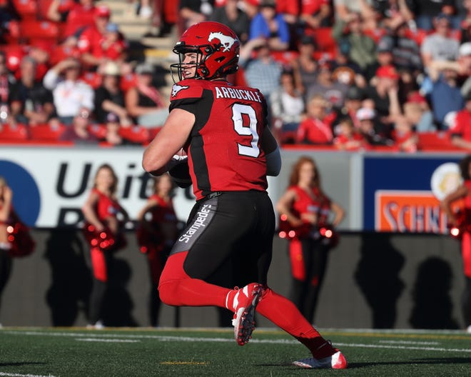 St. Bonaventure High graduate Nick Arbuckle has led the Calgary Stampeders to two wins in his first three  starts for the CFL's Calgary Stampeders