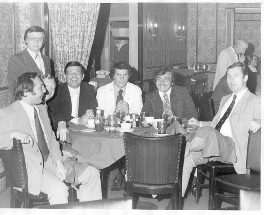 A gathering of several high school Key Club members, including George Latimer who is now Westchester County Executive, at Mount Vernon's Knolls Inn.