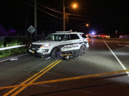 A Ramapo police officer and a motorcyclist were involved in a crash on Route 45 in Hillcrest on July 23, 2019.