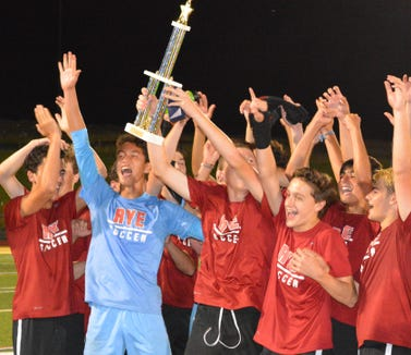 Rye celebrated after defeating John Jay-East Fishkill in the championship game of the Lakeland Summer League on July 23, 2019.
