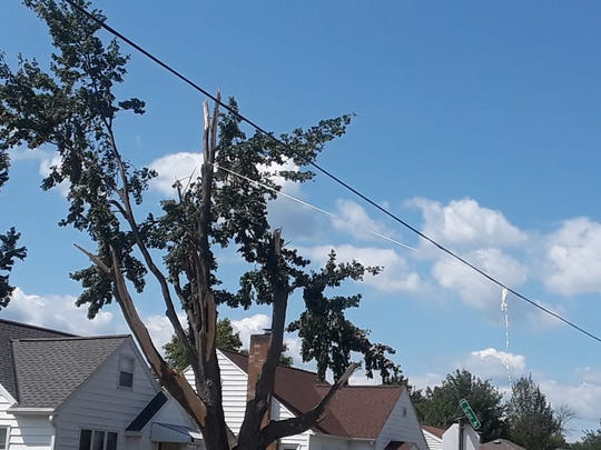 A power line is held up off of road by a rope tied to a tree that lost most of its branches during a storm Saturday, July 20, 2019, that caused widespread damage throughout Wisconsin. This photo was taken on Peach Street in Wisconsin Rapids.