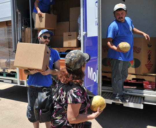 In this file photo, Wichita Falls Area Food Bank Mobile Pantry driver, Mason Sparks, left, and volunteer Justin Black help distribute food from the food bank's mobile pantry.