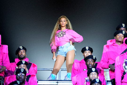 """This image released by Netflix shows Beyonce in a scene from her documentary """"Homecoming: A Film by Beyoncé."""" (Parkwood Entertainment/Netflix via AP) ORG XMIT: NYET303"""