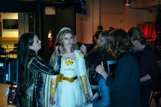 Budding superhero Starlight (Erin Moriarty) gets styled by a glam team before another day on the job.