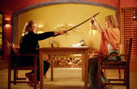 "The Bride (Uma Thurman) gets her faceoff with Bill (David Carradine) in ""Kill Bill: Volume 2."""