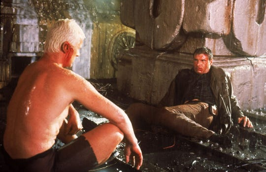"Rutger Hauer faces off against Harrison Ford in  ""Blade Runner."""