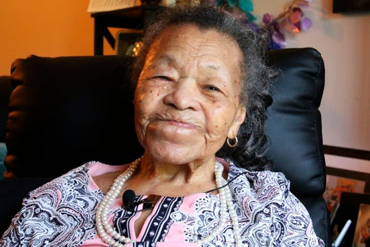 In this June 10, 2019, photo, Juanita Mitchell, 107, in Madison, Wis., recalls what it was like to move to Chicago from Louisiana in July of 1919 in the midst of the race riots. Mitchell has trouble remembering some things from her childhood, but the memories of that summer remain clear.