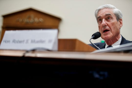 Robert Mueller testifies during a much-anticipated hearing about Russian interference into the 2016 election, and possible efforts by President Trump to obstruct Mueller's investigation, in Washington, DC, on July 24, 2019.