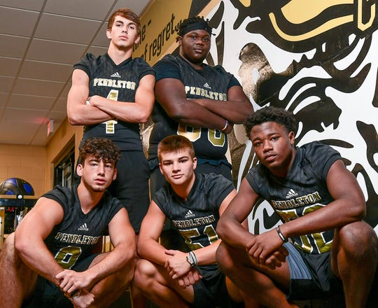 Pendleton's football program has always been good, but last season they reached a height they hadn't seen in several years; winning the Region 1-AAA title. Top left to right: Jason Wright-Mann and Markee Martin. Lower left to right: Cameron Williams, Jentry Whitfield, and Ezra Grate.