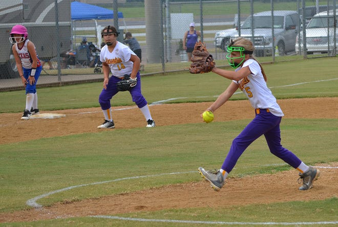 The Alexandria Angles host team battle the Texas state championship team in a Dixie Softball World Series tournament game at Johnny Downs last year. The 2019 World Series starts Saturday at Johnny Downs.