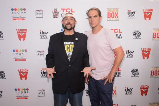 Kevin Smith, left, and Jason Mewes are honored with a TCL Chinese Theatre handprint ceremony at Theatre Box on July 19, 2019 in San Diego, California.