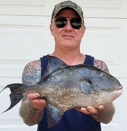 Kevin Cavanagh, Farmingdale, with the New Jersey state spearfishing record triggerfish. The fish weighed 5 pounds, 5 ounces and was caught July 16, 2019 off Monmouth Beach.
