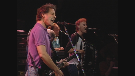 "Bob Weir, from left, Jerry Garcia, Vince Welnick and Bruce Hornsby of The Grateful Dead pictured at Giants Stadium in East Rutherford on June 17, 1991. The concert is featured in the 2019 ""Grateful Dead Meet-Up at the Movies."""