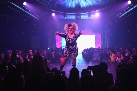 "Ginger Minj performs during the ""RuPaul's Drag Race"" Season 7 New York premiere at Queen of the Night/Diamond Horseshoe at the Paramount Hotel on Feb. 23, 2015 in New York City."