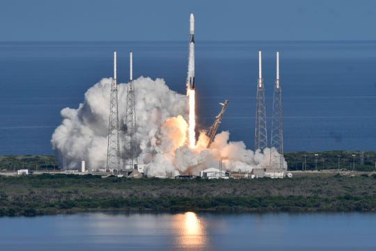 A SpaceX Falcon 9 rocket lifts off from Pad 40 at Cape Canaveral Air Force Station Thursday, July 25, 2019,  The rocket is carrying supplies for the International Space Station. Mandatory Credit: Craig Bailey/FLORIDA TODAY via USA TODAY NETWORK