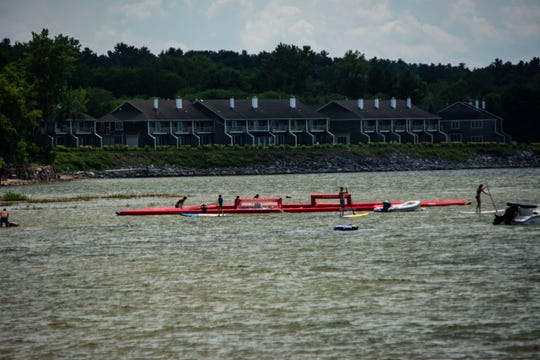 The stand-up paddleboard polo arena at Burlington Surf Club, on July 25 2019