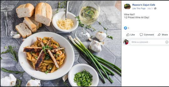 Razzoo's Cajun Cafe is coming to La Palmera in 2020. A screen shot shows a Facebook post of the restaurant's pasta dish.