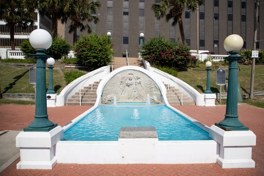 The Queen of the sea water fountain located on North Lower Broadway Street.