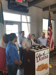 South Texas state Rep. Armando Martinez with other members of the Mexican American Legislative Caucus visited the Donna holding center for immigrants, Julu 25, 2019.