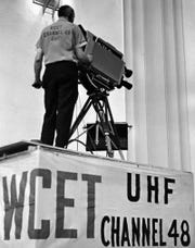 In April 1967, a WCET cameraman mans his equipment.