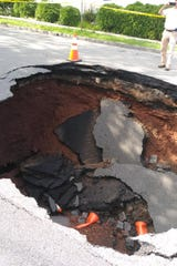 There is a 20-foot deep sinkhole on Gordon Street in Perth Amboy