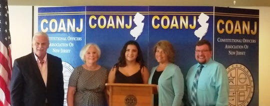Pictured (left to right) are Ocean County Clerk and COANJ President Scott Colabella, Monmouth County Surrogate Rosemarie Peters, Amy Suraci, Dianne Suraci and Somerset County Clerk Steve Peter
