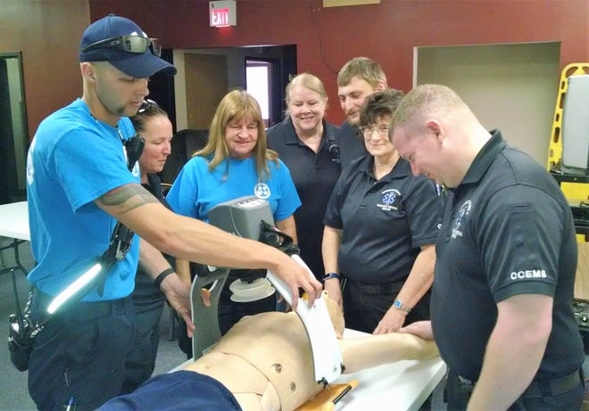 Personnel of Coshocton County Emergency Medical Services recently received training on the LUCAS 3 chest compression system. The agency was able to purchase a device through a $15,000 grant from the Coshocton Foundation. It's hoped other grants and donations will allow for five devices to be purchased for each crew per shift to have one.