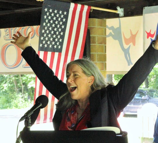Kimberly Graham addressing the Boone County Democrats picnic in late June.