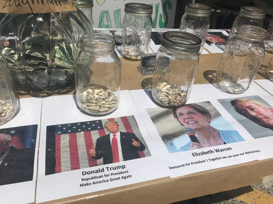 A school fundraiser hosts a lima bean contest between candidates running for president in 2020 in Norwalk, Iowa, on Tuesday, July 23, 2019.