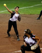 Hannah Fry of West Des Moines Valley fields a ground ball during the 5A state softball semifinal against Iowa City High Wednesday, July 24, 2019.