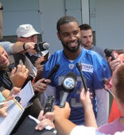 Lions cornerback Darius Slay fields questions after practice in training camp on Thursday, July 25, 2019, in Allen Park.