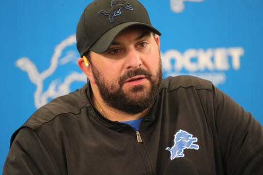 Lions coach Matt Patricia talks with reporters before training camp Thursday, July 25, 2019 in Allen Park, Mich.
