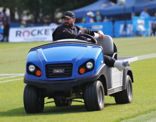 Lions coach Matt Patricia is drives around the during practice during training camp on Thursday, July 25, 2019, in Allen Park.