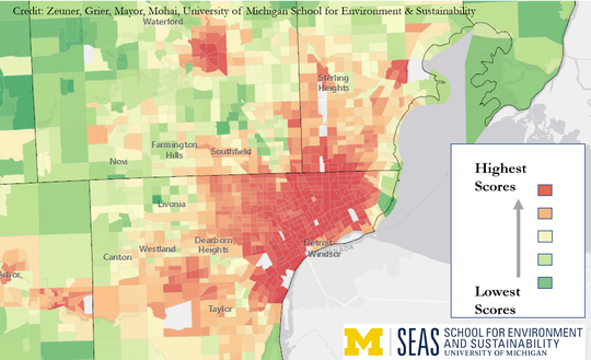 The areas in Metro Detroit identified as environmental injustice hot spots in new University of Michigan research are marked in red on this map.